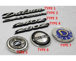 240z 260z 280z emblem for hood, quarter panel, rear hatch, side fender, datsun logo,  grill badge,  solid metal oem reproductions super high quality!